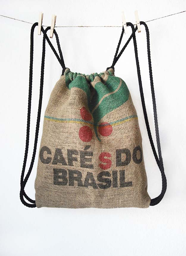 DIY Projects with Burlap and Creative Burlap Crafts for Home Decor, Gifts and More | Burlap Coffee Bag Drawstring Back Pack |  http://diyjoy.com/diy-projects-with-burlap