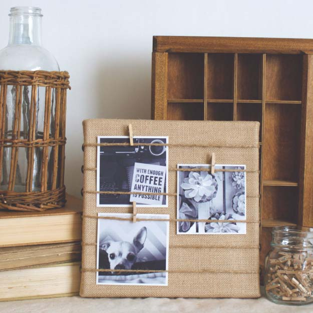 DIY Projects with Burlap and Creative Burlap Crafts for Home Decor, Gifts and More | Burlap Memo Board |  http://diyjoy.com/diy-projects-with-burlap