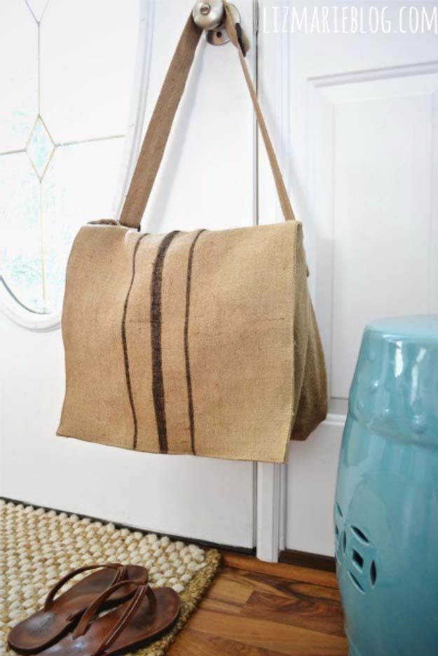 DIY Projects with Burlap and Creative Burlap Crafts for Home Decor, Gifts and More | Burlap Messenger Bag |  http://diyjoy.com/diy-projects-with-burlap