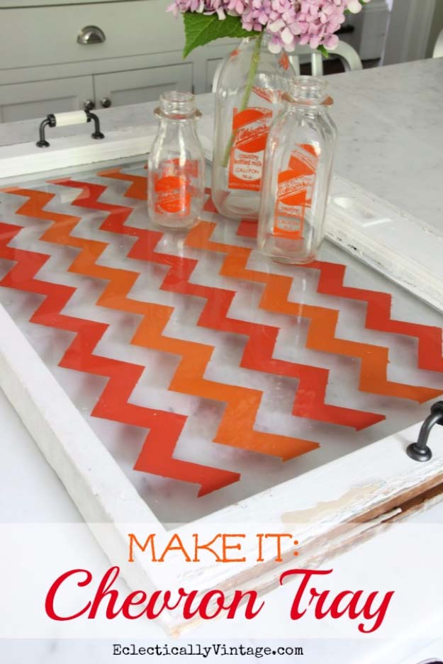 DIY Gifts for Your Parents | Cool and Easy Homemade Gift Ideas That Mom and Dad Will Love | Creative Christmas Gifts for Parents With Step by Step Instructions | Crafts and DIY Projects by DIY JOY | Chevron Tray | http://diyjoy.com/diy-gifts-for-mom-dad-parents