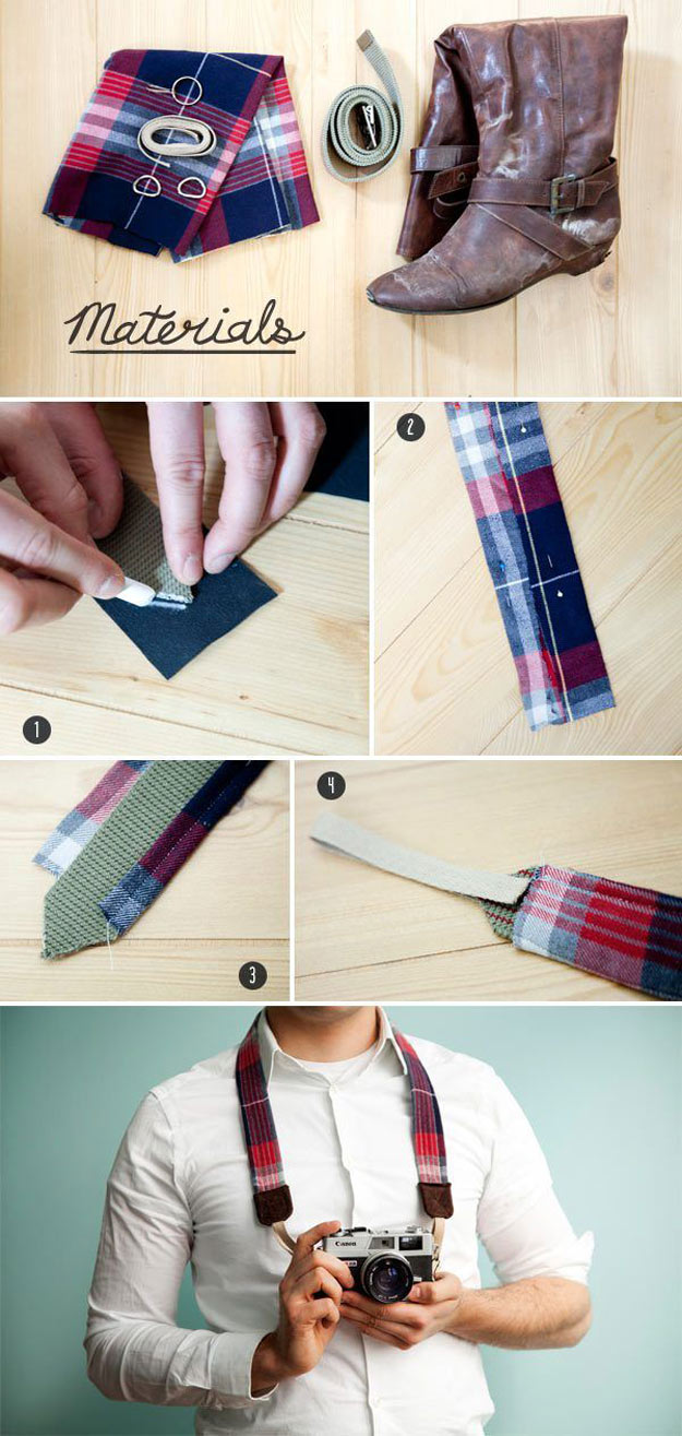 Awesome Crafts for Men and Manly DIY Project Ideas Guys Love - Fun Gifts, Manly Decor, Games and Gear. Tutorials for Creative Projects to Make This Weekend | Craft Your Own DIY Camera Strap from a Belt, Shirt, and Boot | http://diyjoy.com/diy-projects-for-men-crafts