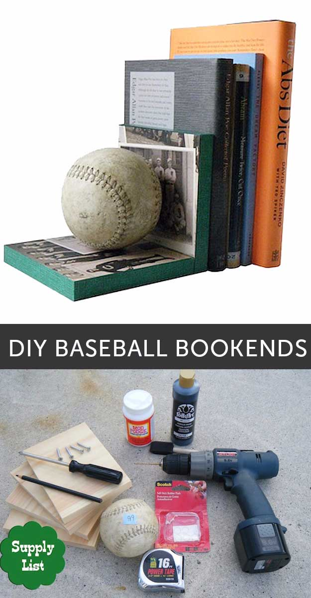 Awesome Crafts for Men and Manly DIY Project Ideas Guys Love - Fun Gifts, Manly Decor, Games and Gear. Tutorials for Creative Projects to Make This Weekend | DIY Baseball Bookends | http://diyjoy.com/diy-projects-for-men-crafts