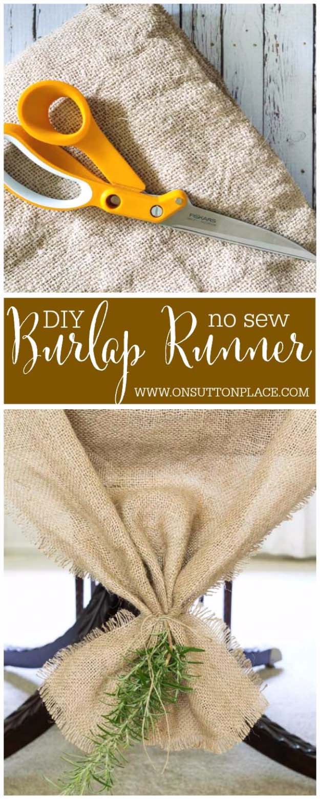 DIY Projects with Burlap and Creative Burlap Crafts for Home Decor, Gifts and More | DIY No Sew Burlap Table Runner | http://diyjoy.com/diy-projects-with-burlap