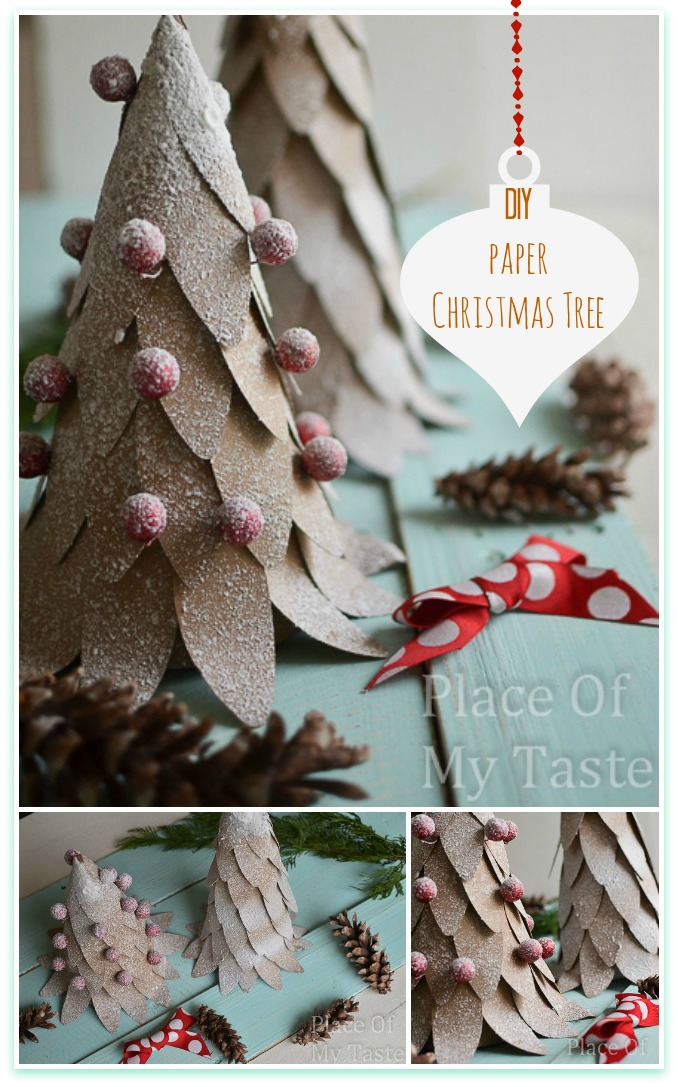 Awesome DIY Christmas Home Decorations and Homemade Holiday Decor Ideas - Quick and Easy Decorating ideas, cool ornaments, home decor crafts and fun Christmas stuff | Crafts and DIY projects by DIY Joy | DIY Paper Christmas Tree | http://diyjoy.com/diy-christmas-decor-holiday-decorations