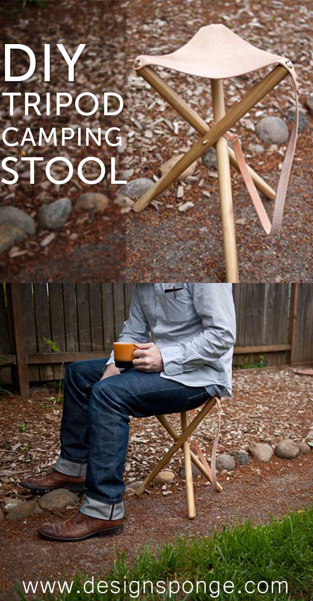 Awesome Crafts for Men and Manly DIY Project Ideas Guys Love - Fun Gifts, Manly Decor, Games and Gear. Tutorials for Creative Projects to Make This Weekend | DIY Tripod Camping Stool | http://diyjoy.com/diy-projects-for-men-crafts