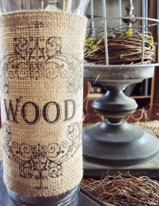 DIY Projects with Burlap and Creative Burlap Crafts for Home Decor, Gifts and More | Easy Burlap Vase Project | http://diyjoy.com/diy-projects-with-burlap
