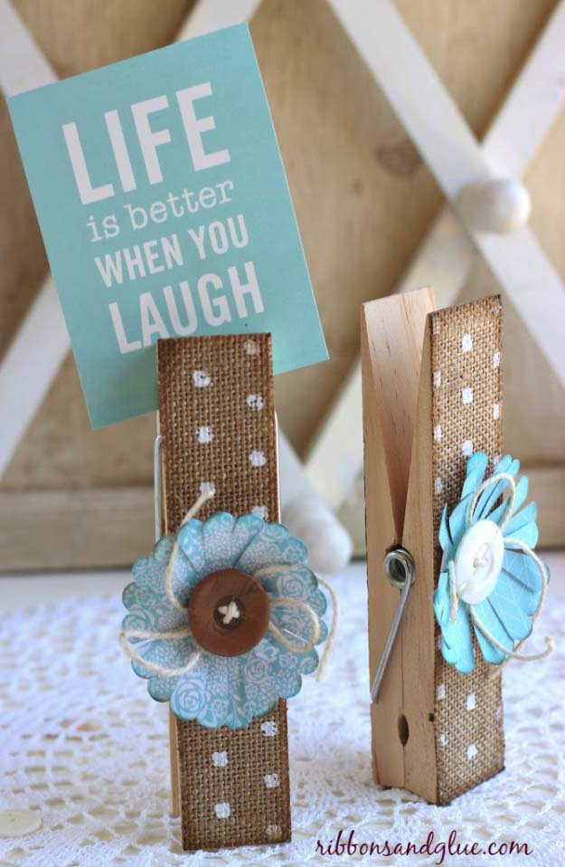 DIY Projects with Burlap and Creative Burlap Crafts for Home Decor, Gifts and More | Elegant Burlap Clothespins |  http://diyjoy.com/diy-projects-with-burlap