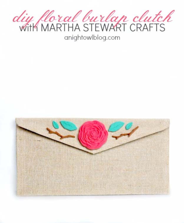 DIY Projects with Burlap and Creative Burlap Crafts for Home Decor, Gifts and More | Floral Burlap Clutch |  http://diyjoy.com/diy-projects-with-burlap