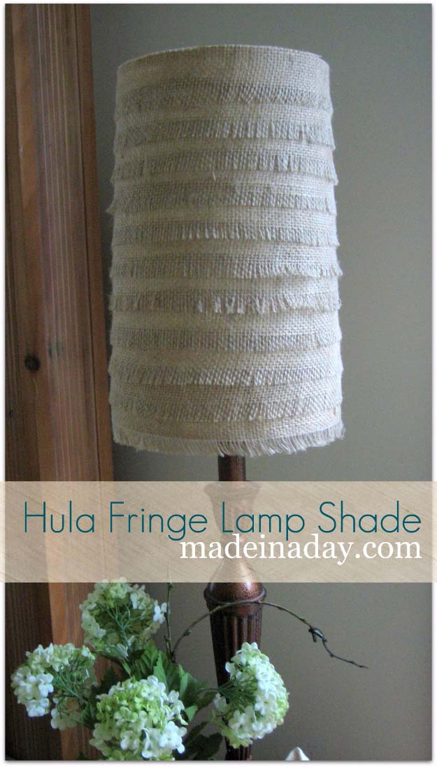 DIY Projects with Burlap and Creative Burlap Crafts for Home Decor, Gifts and More | Hula Fringe Flower Burlap Lamp Shade | http://diyjoy.com/diy-projects-with-burlap