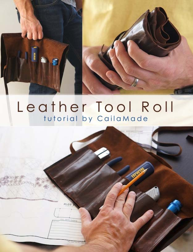 DIY Gifts For Men | Awesome Ideas for Your Boyfriend, Husband, Dad - Father , Brother and all the other important guys in your life. Cool Homemade DIY Crafts Men Will Truly Love to Receive for Christmas, Birthdays, Anniversaries and Valentine's Day | Leather Tool Roll | http://diyjoy.com/diy-gifts-for-men-pinterest