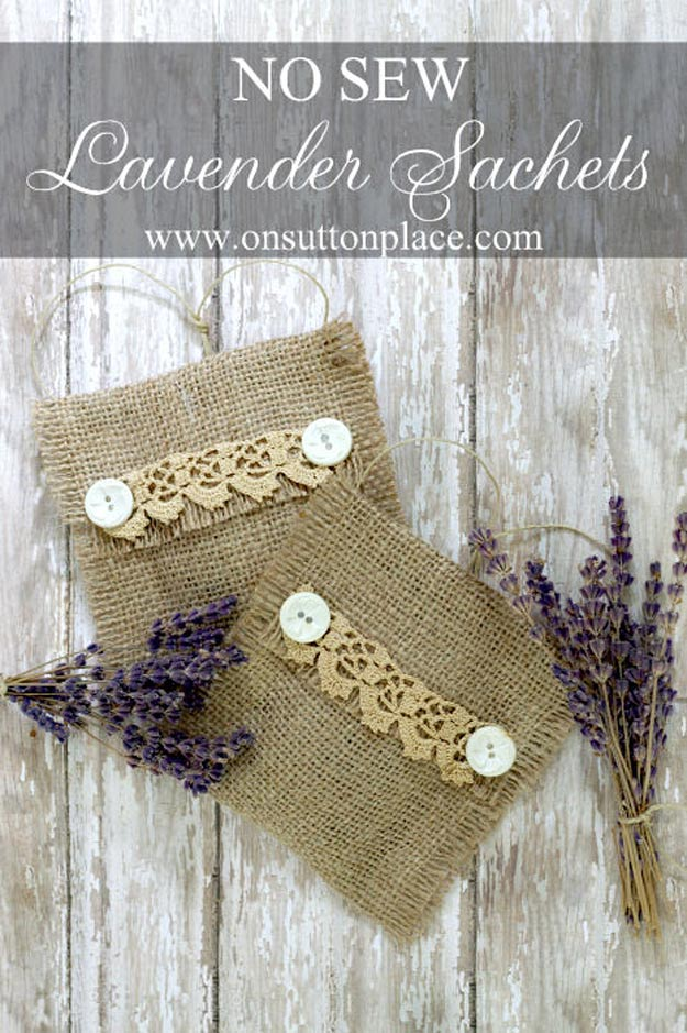 DIY Projects with Burlap and Creative Burlap Crafts for Home Decor, Gifts and More | No-Sew-Burlap-Lavender-Sachets |  http://diyjoy.com/diy-projects-with-burlap