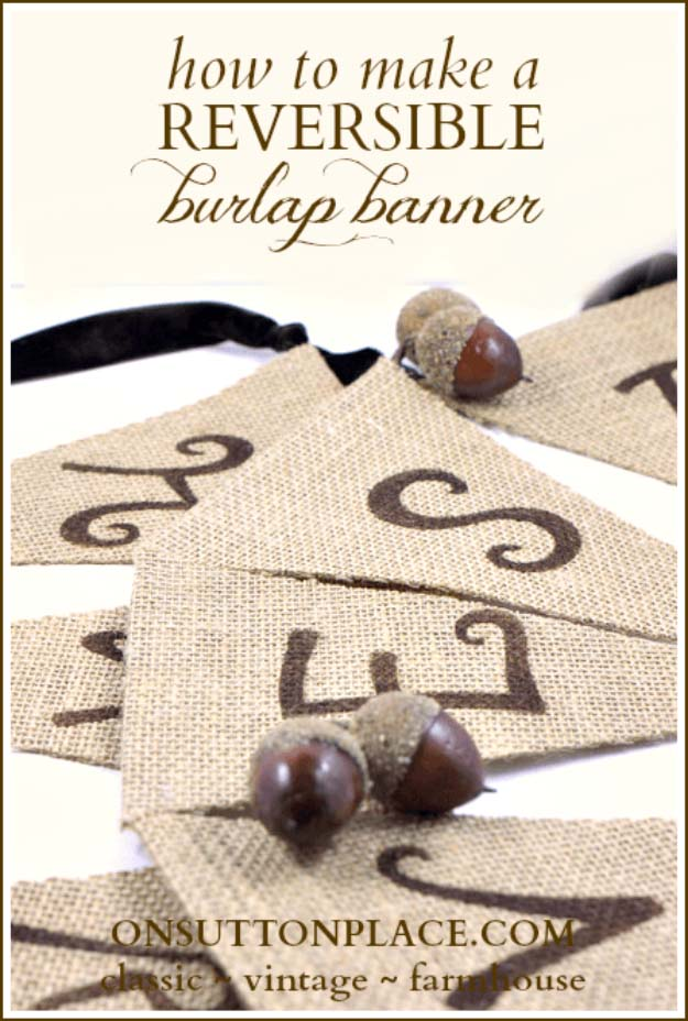 DIY Projects with Burlap and Creative Burlap Crafts for Home Decor, Gifts and More | No-Sew Reversible Burlap Banner | http://diyjoy.com/diy-projects-with-burlap