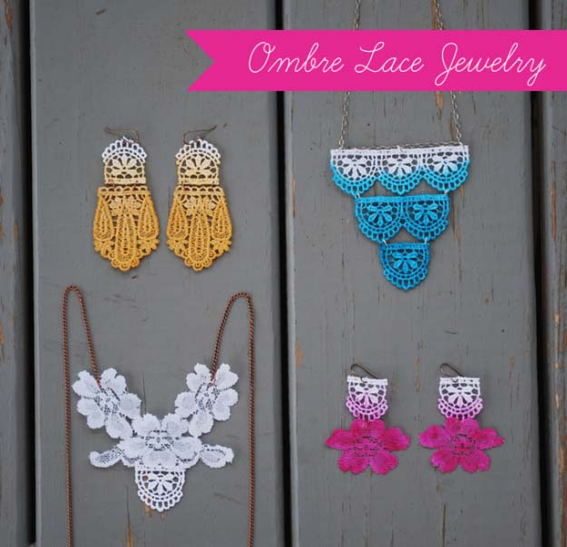 DIY Crafts You Can Make with Lace | Cool DIY Ideas for Fashion, Decor, Gifts, Jewelry and Home Accessories Made With Lace | Ombre Lace Jewelry | http://diyjoy.com/diy-crafts-ideas-with-lace