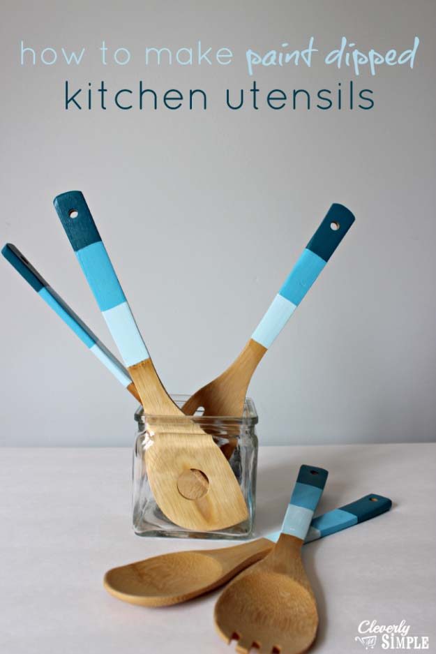 DIY Gifts for Your Parents | Cool and Easy Homemade Gift Ideas That Mom and Dad Will Love | Creative Christmas Gifts for Parents With Step by Step Instructions | Crafts and DIY Projects by DIY JOY | Paint Dipped Kitchen Utensils | http://diyjoy.com/diy-gifts-for-mom-dad-parents