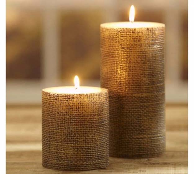 DIY Projects with Burlap and Creative Burlap Crafts for Home Decor, Gifts and More | Pottery Barn Burlap Candle |  http://diyjoy.com/diy-projects-with-burlap