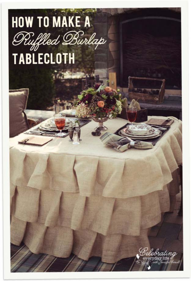 DIY Projects with Burlap and Creative Burlap Crafts for Home Decor, Gifts and More | Ruffled Burlap Tablecloth |  http://diyjoy.com/diy-projects-with-burlap