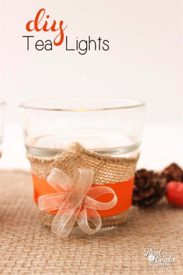 DIY Projects with Burlap and Creative Burlap Crafts for Home Decor, Gifts and More | Simple Tea Lights for the Table | http://diyjoy.com/diy-projects-with-burlap