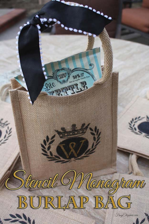 DIY Projects with Burlap and Creative Burlap Crafts for Home Decor, Gifts and More | Stencil Monogram Burlap Bag | http://diyjoy.com/diy-projects-with-burlap