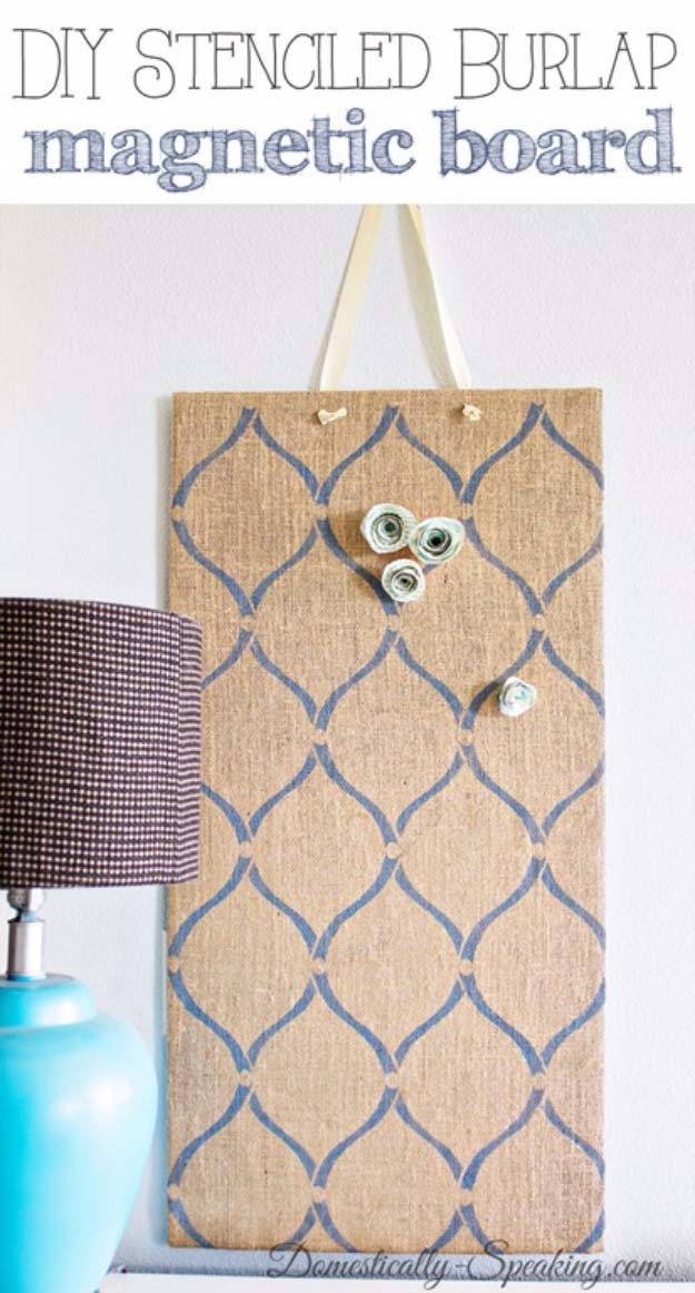 DIY Projects with Burlap and Creative Burlap Crafts for Home Decor, Gifts and More | Stenciled Burlap Magnetic Boards |  http://diyjoy.com/diy-projects-with-burlap