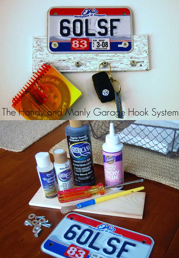 Awesome Crafts for Men and Manly DIY Project Ideas Guys Love - Fun Gifts, Manly Decor, Games and Gear. Tutorials for Creative Projects to Make This Weekend | The Handy and Manly Garage Hook Sytem | http://diyjoy.com/diy-projects-for-men-crafts