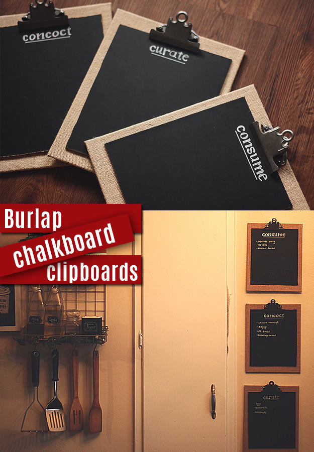 DIY Projects with Burlap and Creative Burlap Crafts for Home Decor, Gifts and More | Burlap Chalkboard Clipboards |  http://diyjoy.com/diy-projects-with-burlap