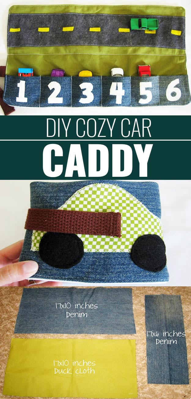 DIY Christmas Gifts for Kids - Homemade Christmas Presents for Children and Christmas Crafts for Kids | Toys, Dress Up Clothes, Dolls and Fun Games | Step by Step tutorials and instructions for cool gifts to make for boys and girls | DIY-Cozy-Car-Caddy | http://diyjoy.com/diy-christmas-gifts-for-kids