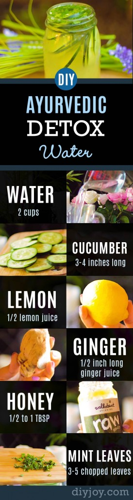 31 Detox Water Recipes for Drinks To Cleanse Skin and Body. Easy to Make Waters and Tea Promote Health, Diet and Support Weightloss | Ayurvedic Detox Water | Weight Loss, Clear Skin, Flat Belly, Anti-Aging Recipe | http://diyjoy.com/diy-detox-water-recipes