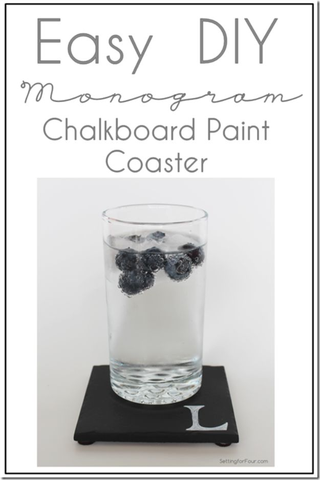 DIY Chalkboard Paint Ideas for Furniture Projects, Home Decor, Kitchen, Bedroom, Signs and Crafts for Teens. | DIY Monogram Chalkboard Paint Coasters | http://diyjoy.com/diy-chalkboard-paint-ideas