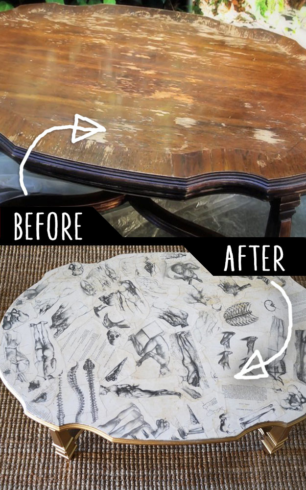 DIY Furniture Makeovers - Refurbished Furniture and Cool Painted Furniture Ideas for Thrift Store Furniture Makeover Projects | Coffee Tables, Dressers and Bedroom Decor, Kitchen | Decoupaged Coffee Table | http://diyjoy.com/diy-furniture-makeovers
