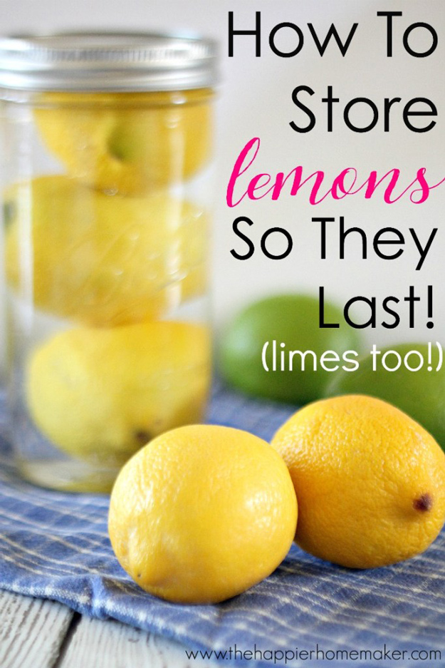 Coolest Cooking Hacks, Tips and Tricks for Easy Meal Prep, Recipe Shortcuts and Quick Ideas for Food | Keep Lemons Fresh Longer | http://cooking-tips-diy-kitchen-hacks