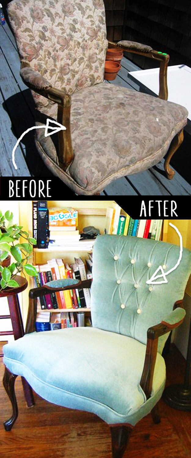 DIY Furniture Makeovers - Refurbished Furniture and Cool Painted Furniture Ideas for Thrift Store Furniture Makeover Projects | Coffee Tables, Dressers and Bedroom Decor, Kitchen | Reupholstered Chair | http://diyjoy.com/diy-furniture-makeovers