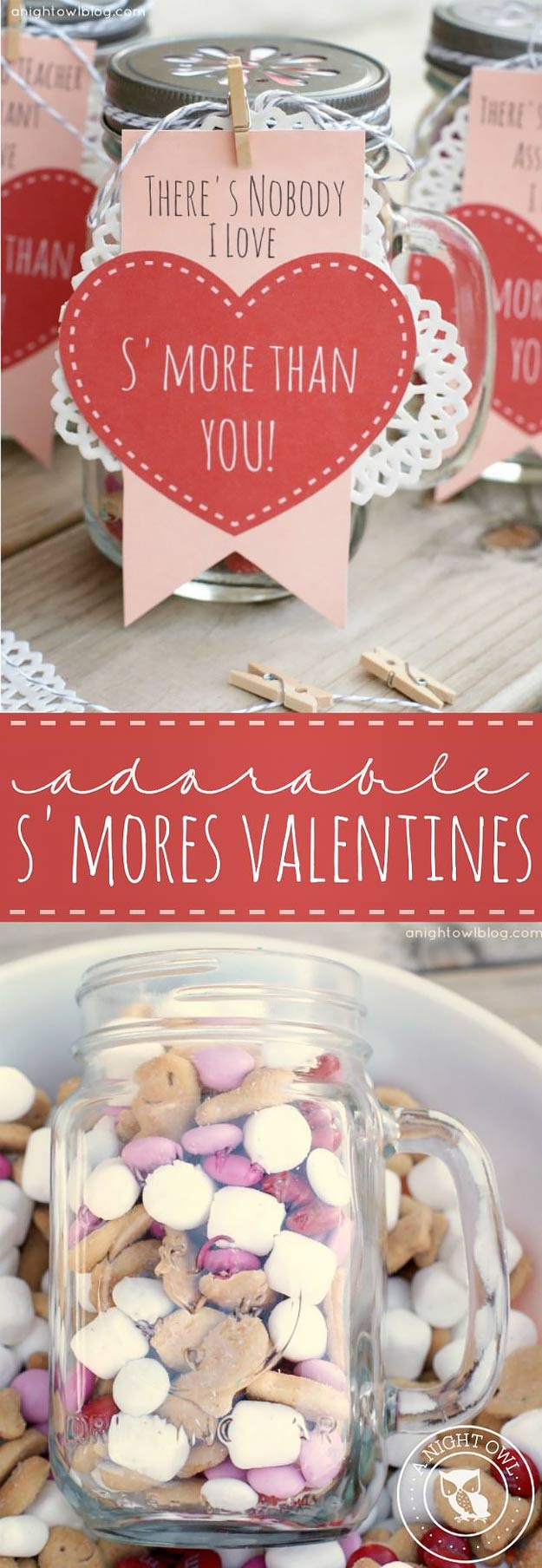 Mason Jar Valentine Gifts and Crafts | DIY Ideas for Valentines Day for Cute Gift Giving and Decor | S'mores Valentines | http://diyjoy.com/mason-jar-valentine-crafts