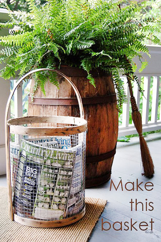 DIY Furniture Store KnockOffs - Do It Yourself Furniture Projects Inspired by Pottery Barn, Restoration Hardware, West Elm. Tutorials and Step by Step Instructions | Supercool Basket Copycatting Country Living Magazine | http://diyjoy.com/diy-furniture-store-knockoffs