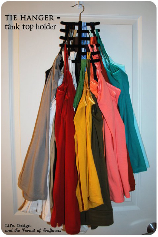 DIY Closet Organization Ideas for Messy Closets and Small Spaces. Organizing Hacks and Homemade Shelving And Storage Tips for Garage, Pantry, Bedroom., Clothes and Kitchen | Tie Hanger Tank Top Holder | http://diyjoy.com/diy-closet-organization-ideas