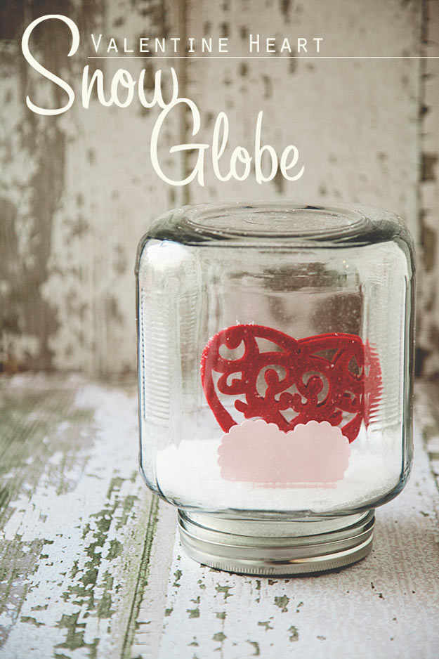 Mason Jar Valentine Gifts and Crafts | DIY Ideas for Valentines Day for Cute Gift Giving and Decor | Valentine Heart Snow Globe | http://diyjoy.com/mason-jar-valentine-crafts
