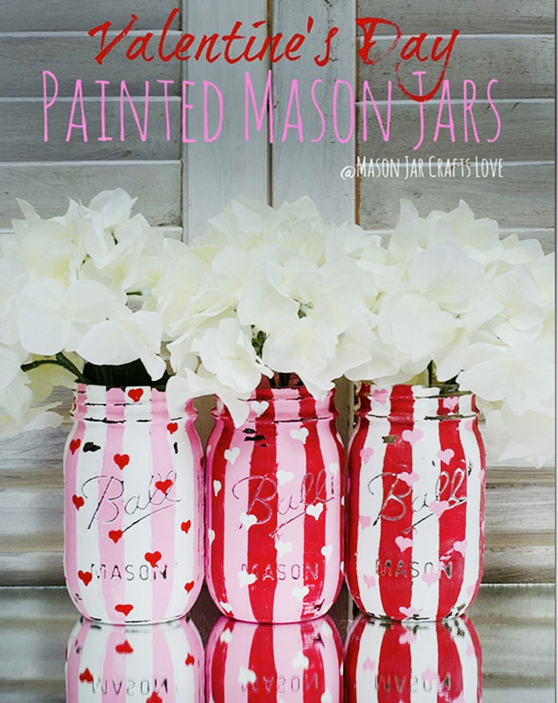Mason Jar Valentine Gifts and Crafts | DIY Ideas for Valentines Day for Cute Gift Giving and Decor | Distressed Painted Valentine Heart Jars | http://diyjoy.com/mason-jar-valentine-crafts