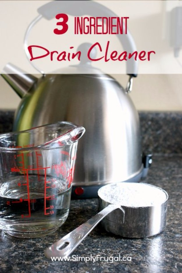 Best Natural Homemade DIY Cleaners and Recipes - 3 Ingredient Natural Drain Cleaner - All Purposed Home Care and Cleaning with Vinegar, Essential Oils and Other Natural Ingredients For Cleaning Bathroom, Kitchen, Floors, Laundry, Furniture and More http://diyjoy.com/best-homemade-cleaners-recipes