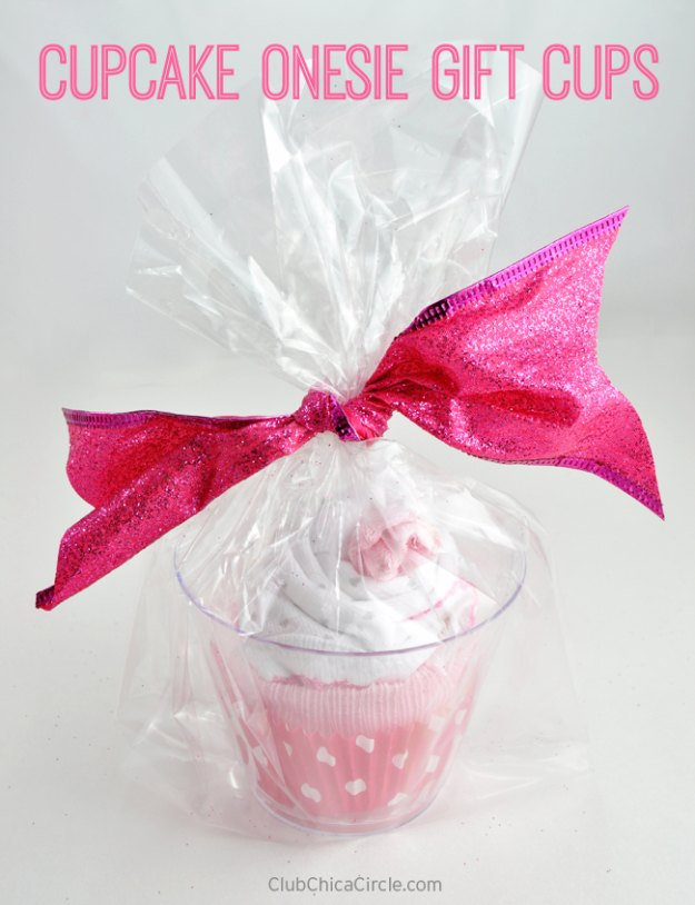 DIY Baby Gifts - Cupcake Onesie Gift Cups - Homemade Baby Shower Presents and Creative, Cheap Gift Ideas for Boys and Girls - Unique Gifts for the Mom and Dad to Be - Blankets, Baskets, Burp Cloths and Easy No Sew Projects http://diyjoy.com/diy-baby-shower-gifts