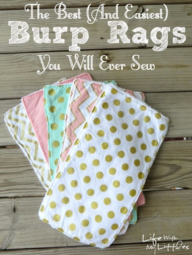 DIY Baby Gifts - DIY Burp Rags - Homemade Baby Shower Presents and Creative, Cheap Gift Ideas for Boys and Girls - Unique Gifts for the Mom and Dad to Be - Blankets, Baskets, Burp Cloths and Easy No Sew Projects http://diyjoy.com/diy-baby-shower-gifts