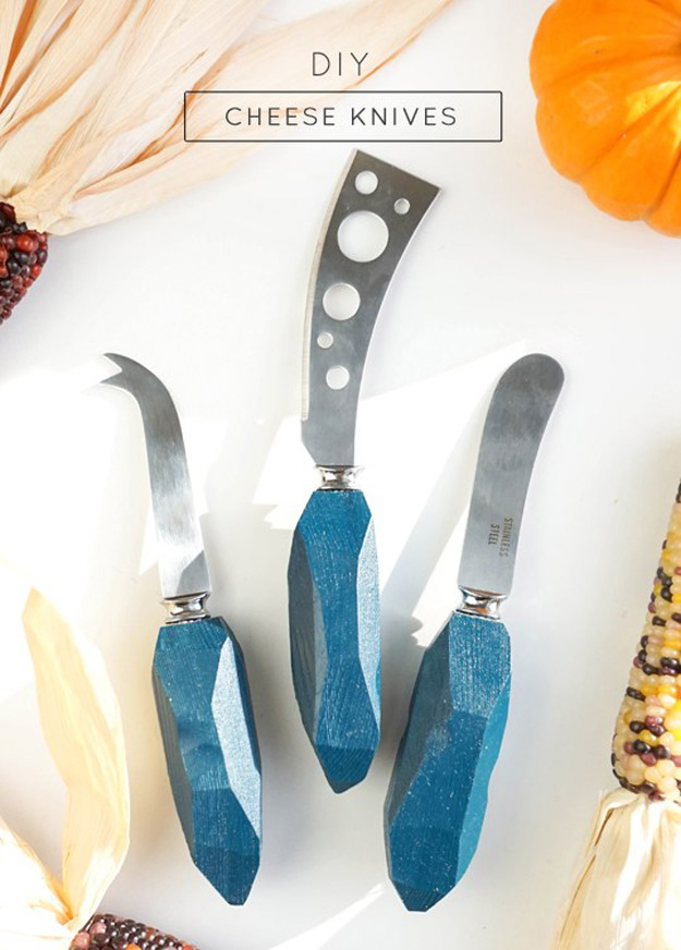Expensive Looking DIY Wedding Gift Ideas - DIY Cheese Knives - Easy and Unique Homemade Gift Ideas for Bride and Groom - Cheap Presents You Can Make for the Couple- for the Home, From The Kids, Personalized Ideas for Parents and Bridesmaids | http://diyjoy.com/cheap-diy-wedding-gifts