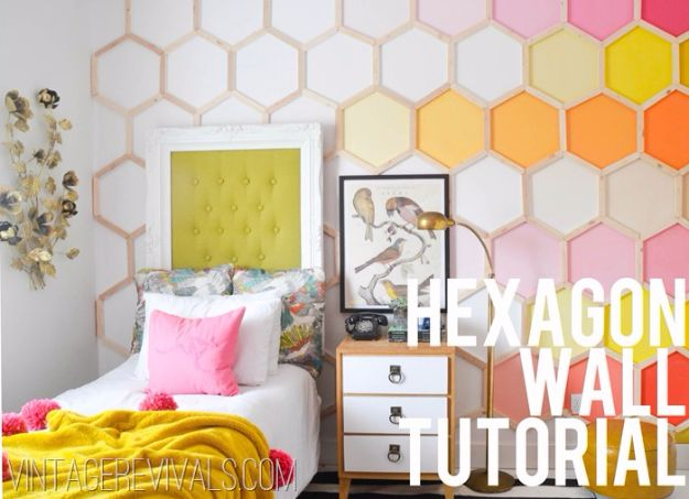 DIY Wall Art Ideas and Do It Yourself Wall Decor for Living Room, Bedroom, Bathroom, Teen Rooms | DIY Honeycomb Hexagon Wall Art | Cheap Ideas for Those On A Budget. Paint Awesome Hanging Pictures With These Easy Step By Step Tutorials and Projects | http://diyjoy.com/diy-wall-art-decor-ideas
