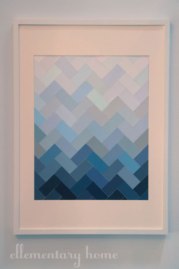 Expensive Looking DIY Wedding Gift Ideas - DIY Paint Chip Ombre Herringbone Wall Art - Easy and Unique Homemade Gift Ideas for Bride and Groom - Cheap Presents You Can Make for the Couple- for the Home, From The Kids, Personalized Ideas for Parents and Bridesmaids | http://diyjoy.com/cheap-diy-wedding-gifts