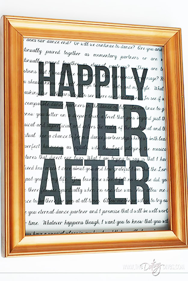 Expensive Looking DIY Wedding Gift Ideas - Framed Print Wedding Gift - Easy and Unique Homemade Gift Ideas for Bride and Groom - Cheap Presents You Can Make for the Couple- for the Home, From The Kids, Personalized Ideas for Parents and Bridesmaids | http://diyjoy.com/cheap-diy-wedding-gifts