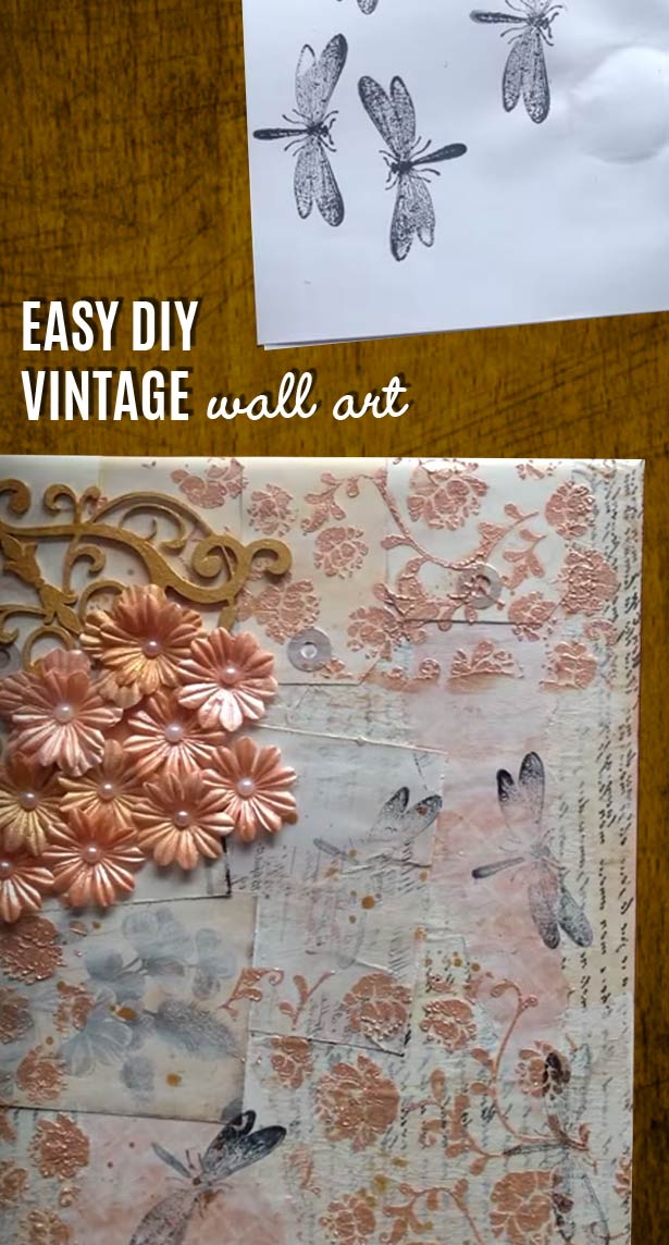 Easy Wall Art Ideas for Rustic Decor - Country Crafts Projects I love for Romantic DIY Home Decor - How To Make Vintage Wall Art -  Mixed Media Canvas Craft Project for Easy Wall Decor