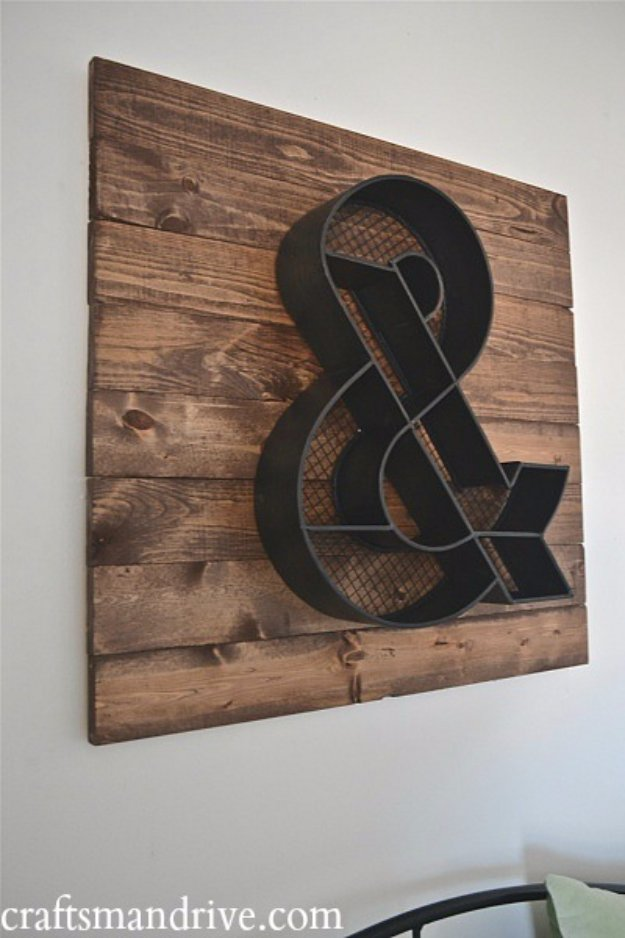 DIY Pallet sign Ideas - DIY Ampersand Wood Pallet Wall Art - Cool Homemade Wall Art Ideas and Pallet Signs for Bedroom, Living Room, Patio and Porch. Creative Rustic Decor Ideas on A Budget http://diyjoy.com/diy-pallet-signs-ideas