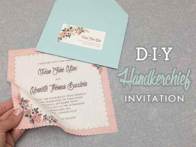 DIY Wedding Invitiations - DIY Vintage Handkerchief Wedding Invitation - Templates, Free Printables and Wording | Tutorials for Unique, Rustic, Elegant and Vintage Homemade Invites http://diyjoy.com/diy-wedding-invitations