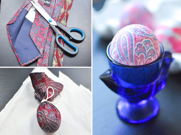 Easter Egg Decorating Ideas - Dye Easter Eggs Using Old Silk Ties - Creative Egg Dye Tutorials and Tips - DIY Easter Egg Projects for Kids and Adults http://diyjoy.com/easter-egg-decorating-ideas