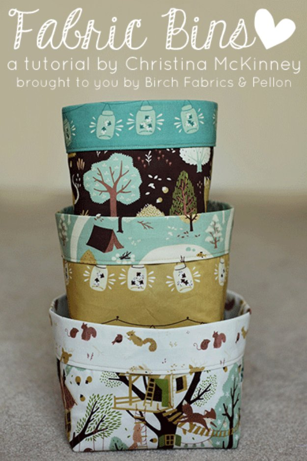 DIY Sewing Gift Ideas for Adults and Kids, Teens, Women, Men and Baby - Fabric Bins - Cute and Easy DIY Sewing Projects Make Awesome Presents for Mom, Dad, Husband, Boyfriend, Children http://diyjoy.com/diy-sewing-gift-ideas