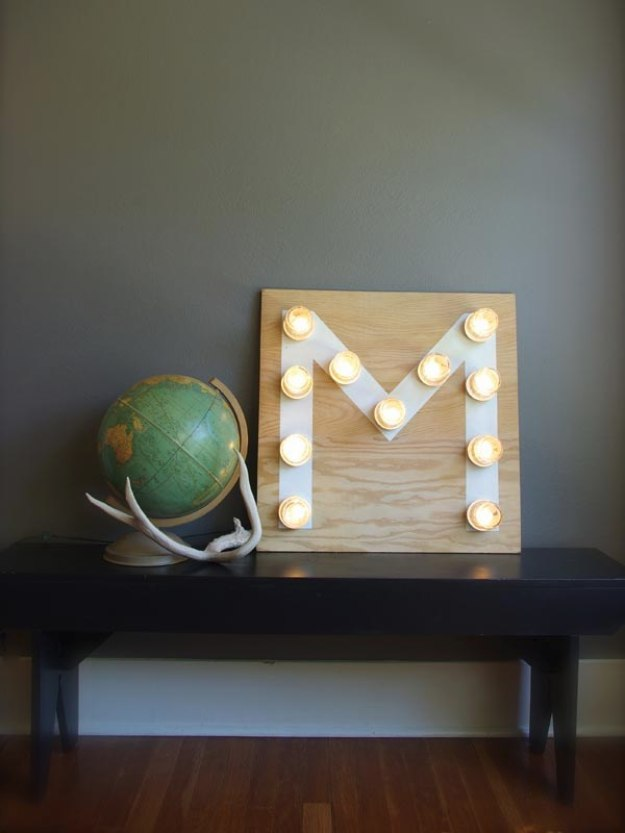 Mason Jar Lights - Mason Jar Monogram Light - DIY Ideas with Mason Jars for Outdoor, Kitchen, Bathroom, Bedroom and Home, Wedding. How to Make Hanging Lanterns, Rustic Chandeliers and Pendants, Solar Lights for Outside http://diyjoy.com/diy-mason-jar-lights-lanterns