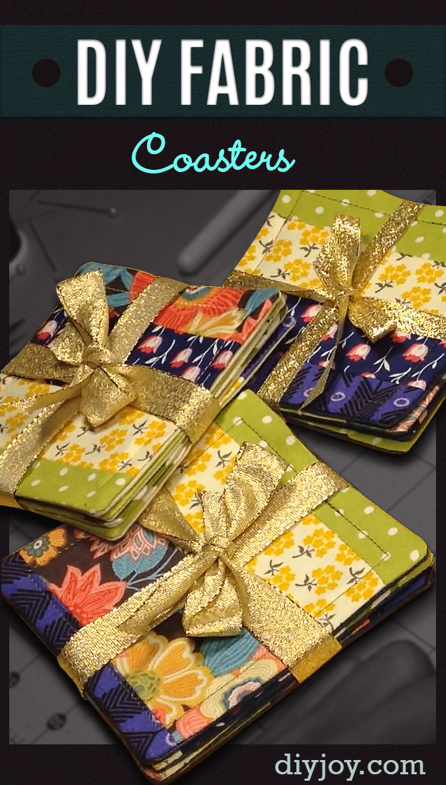 DIY Sewing Gift Ideas for Adults and Kids, Teens, Women, Men and Baby - DIY Fabric Coasters - Cute and Easy DIY Sewing Projects Make Awesome Presents for Mom, Dad, Husband, Boyfriend, Children http://diyjoy.com/diy-sewing-gift-ideas